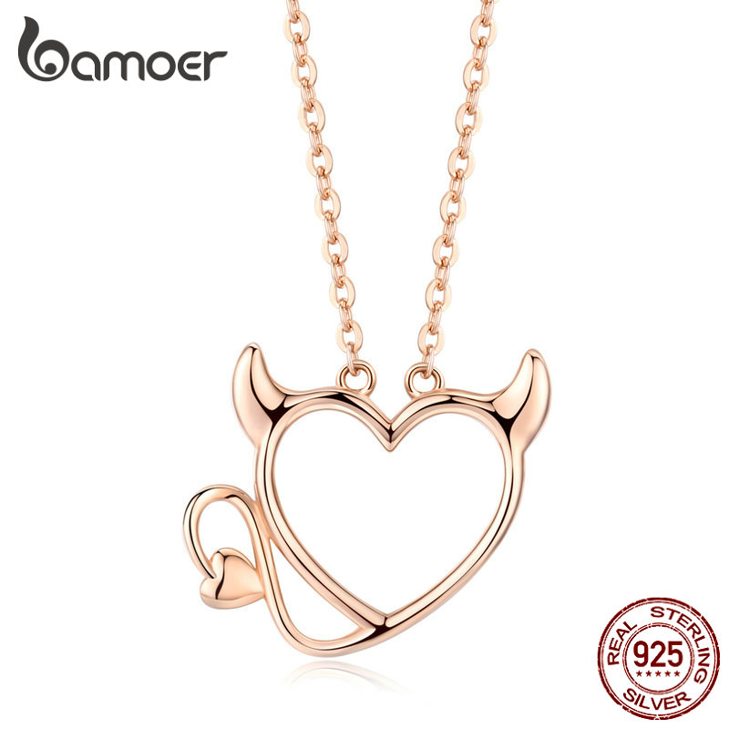 Bamoer Devil Of Love Pendant Necklace For Women 925 Sterling Silver Ear And Tail Chain Necklaces Jewelry Gifts For Girl SCN344