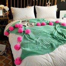 CAMMITEVER 3 Größen 100% Baumwolle Pom Häkeln Gewinde Decken Für Babys Erwachsene Twin Größe Bett Kitted Wirft Bett Läufer