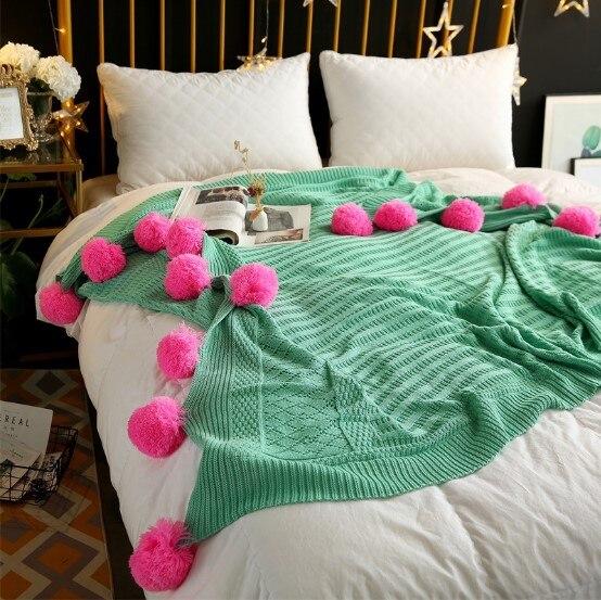 CAMMITEVER 3 tailles 100% coton Pom Crochet fil couvertures pour bébés adultes lit double taille Kitted jette coureurs de lit