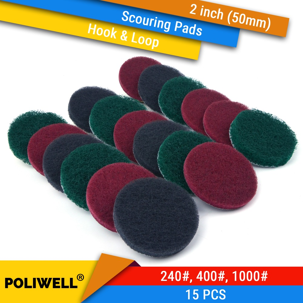 15PCS 2 Inch(50mm) Round Hook&Loop Industrial Scouring Pads Heavy Duty 240#/400#/1000# Nylon Polishing Pad For Kitchen Cleaning