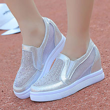 elegant trendy women leather shoes comfortable sewing platform sneakers ladies Rhinestone Embroidery men shoes 35-39(China)