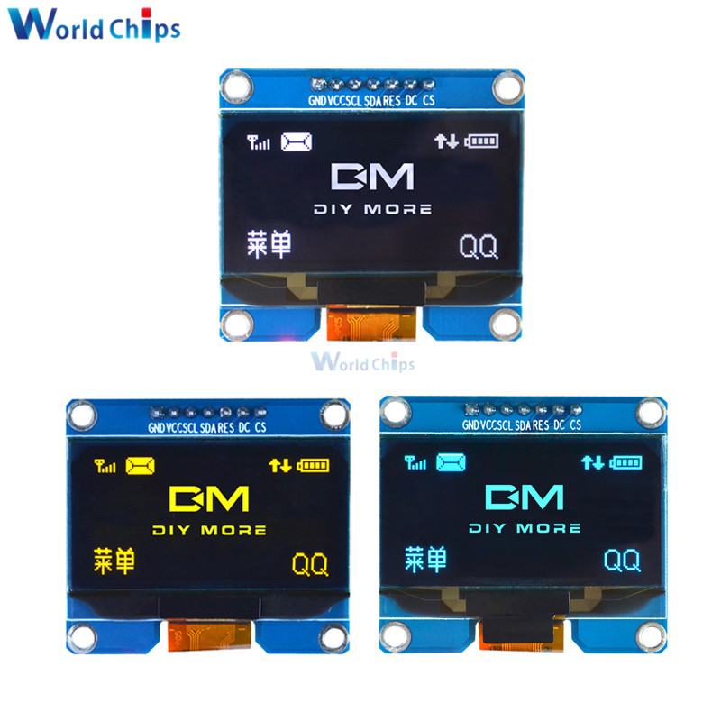 Yellow/White/Blue 1.54 Inch OLED Display Module 128x64 SSD1309 SPI IIC I2C Interface OLED Screen Board For Arduino AVR STM32