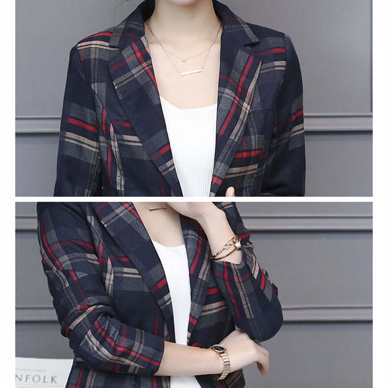 Blazers Feminin 2018 Women England Style Blue Red Plaid Blazer Slim Fit Blazers And Jackets Single Button Office Work Suit W207