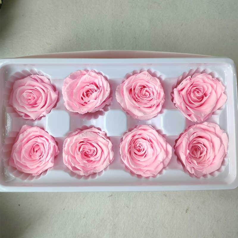 השתמר פרחים באיכות גבוהה 4-5CM אלמוות רוז פרח ראש אמהות יום מתנות חתונה קישוט חומר מתנה אמיתי עלי כותרת