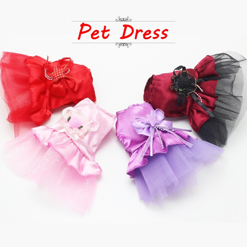 2018 New Summer Pet Chihuahua Pakaian Pink Purple Lace Dress Skirt Anjing Pakaian Princess Dresses Wedding Dress Untuk Pakaian Anjing Kecil