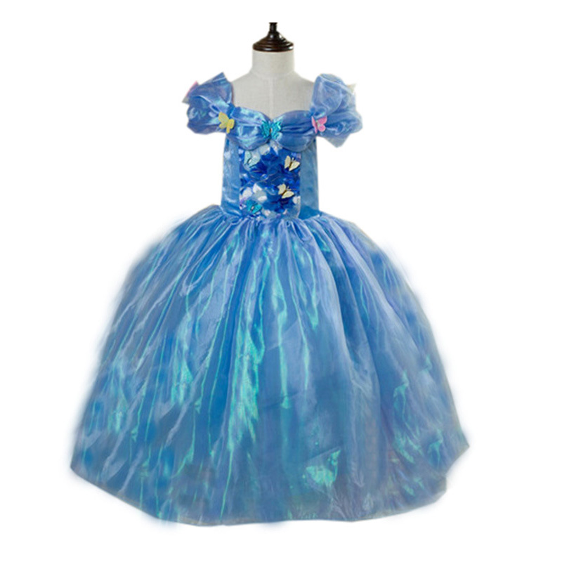 free crown gift Newest movies cinderella dresses princess dress for girls costumes child 2016 fancy summer