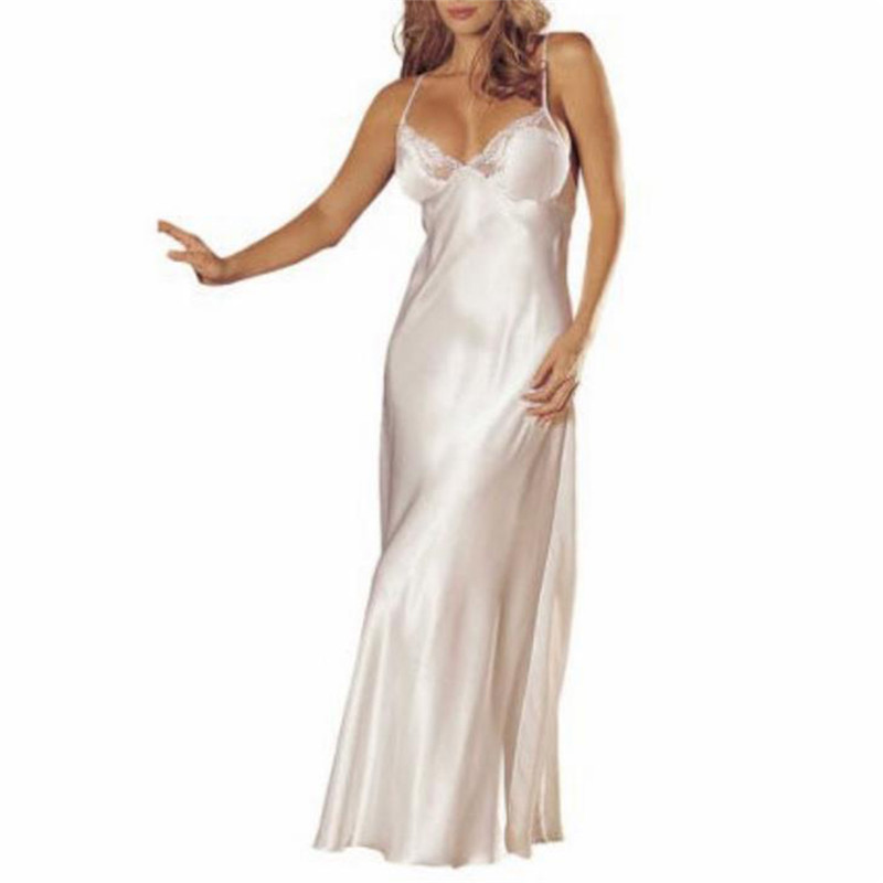 Women Sexy Nightgowns Nightwear Lace Nightgown Silk Thin Sleepwear Night Dress Ladies Lingerie Homewear Satin Long Sleepdress