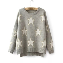Casual Knitted Loose Sweaters Women Cotton Thick Winter Warm Stars Gray Long Sleeve Pullovers Female Blue Sweater Outwear 2017