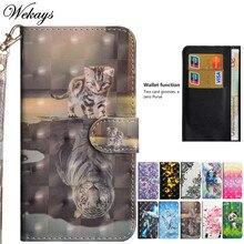 Кожаный чехол-книжка Wekays с 3D милым мультяшным котом для samsung Galaxy Grand Prime G530 SM-G530H G531 SM-G531H G5308W, чехол