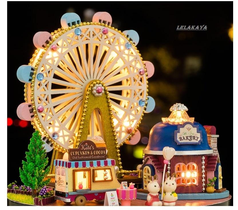 doll house Ferris wheel wooden park doll houses miniature home assembling Dollhouse diy ball toys kit totoro figure 2