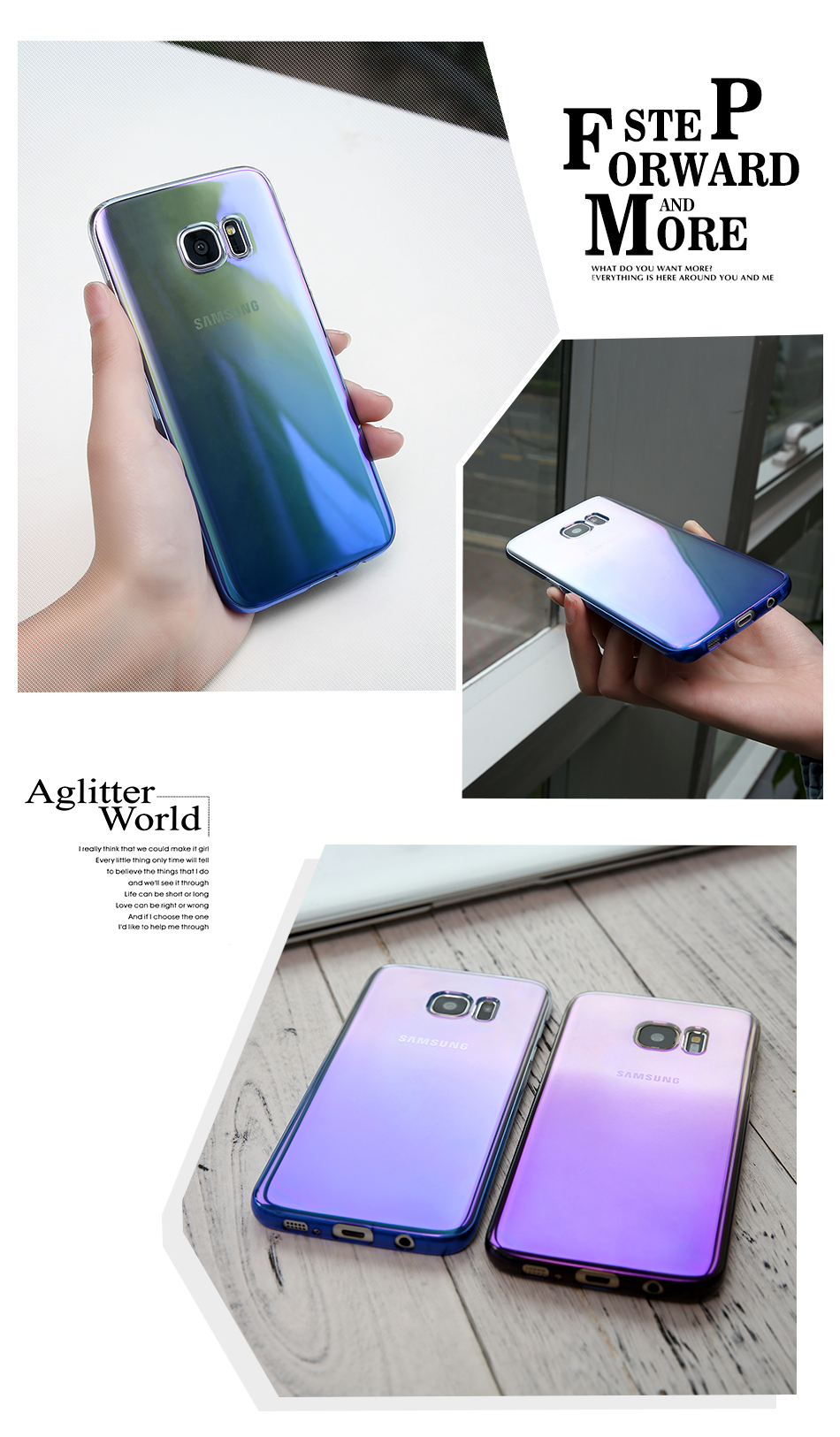 FLOVEME Cool Blue Ray Plastic Case For Smausng Galaxy S7 S7 Edge S8 S8 Edge S6 S6 Edge Gradient Color Plated Cover (10)