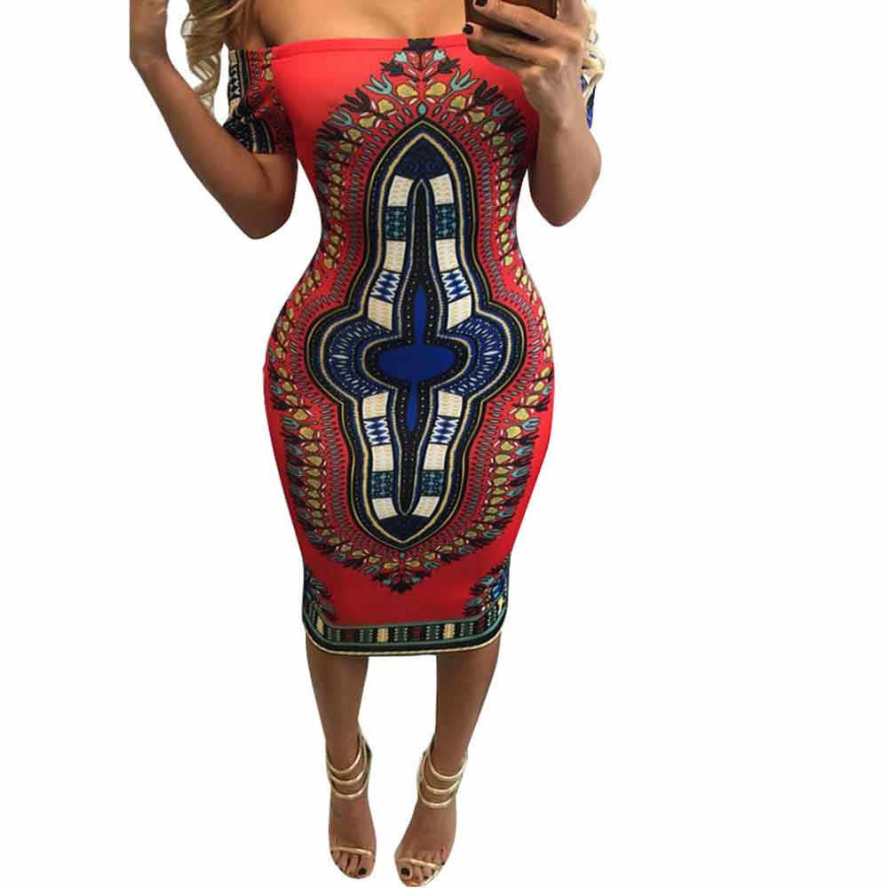 74c91a34a726 2019 Summer Dress Dashiki Bodycon Sexy Party Dress Short Off The Shoulder  Indian Traditional Print African