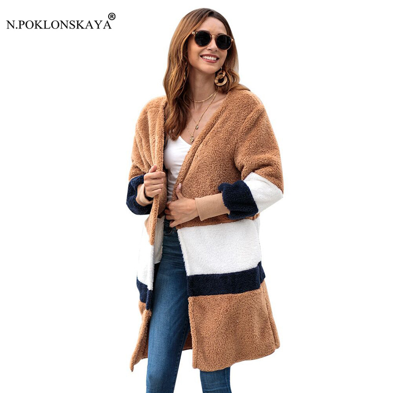 N.POKLONSKAYA Coat Female Ladys Cardigan Faux Fur Coat Women 2018 Autumn Winter Warm Soft Jacket Plush Overcoat Casual Outerwear