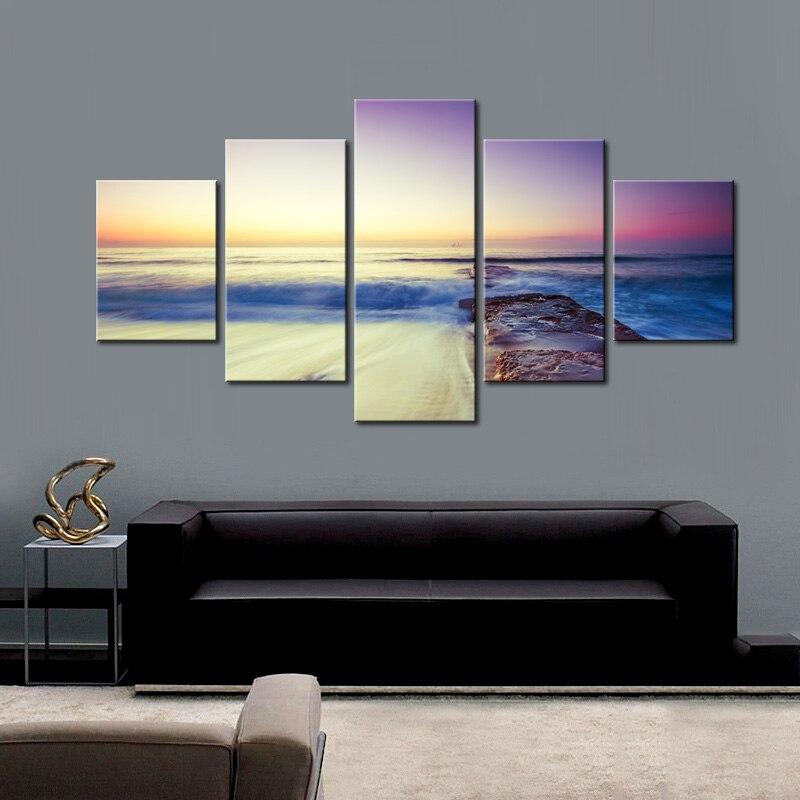 5 panneau paysage marin toile Art peinture moderne grand paysage œuvre plage coucher de soleil avec des nuages colorés impression HD pour la décoration intérieure