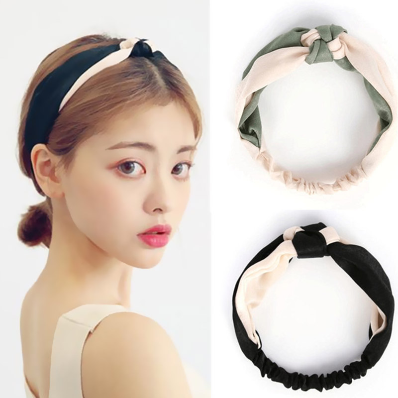 Tie A Knot Women Cross Girls Hot Sale Hair Band Stretchy Cloth Contrast Color High Quality Satin Face 1PC New Hair Accessories