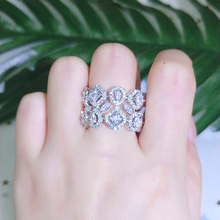 New White Gold Color Luxury AAA Cubic Zirconia Hollow Rings for Women Anniversary Gifts Lady Fashion Jewelry Accessories CR2111 hibride luxury white gold color dark blue aaa cubic zirconia fashion women jewelry sets n 58