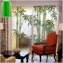 Customized non-adhesive electrostatic Window film bathroom balcony light window grille Chinese bamboo sticker