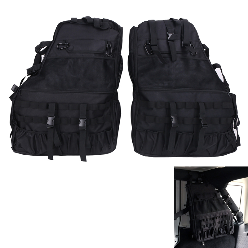 2x Black Roll Bar Storage Bag Luggage for Jeep Wrangler JK 4-Door 2007-2016 Multi Pockets For Tool Kit Clutter Holder #CE011 2 pcs black car styling parts front rear grab bar handles for jeep wrangler jk 2007 2017 new fashion upgraded