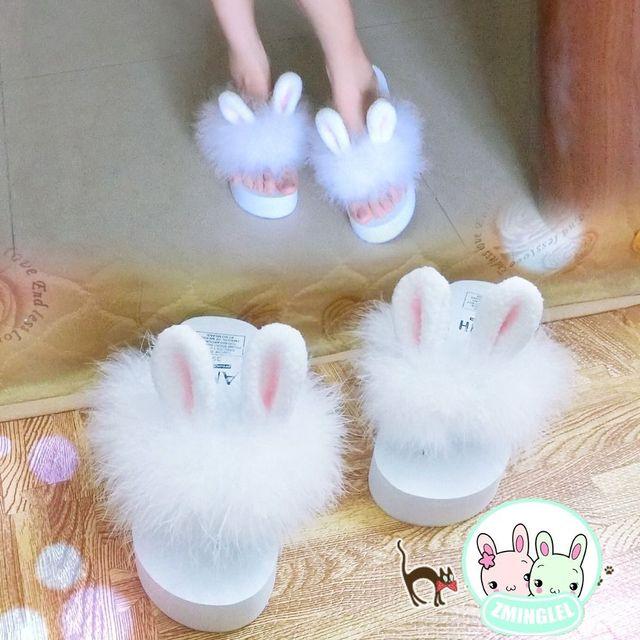 2016 So Kawaii Japanese Style Lolita Girl Rabbit Bunny Ear Plush Shoes Wedge Platform Thong Flip Flop Slippers