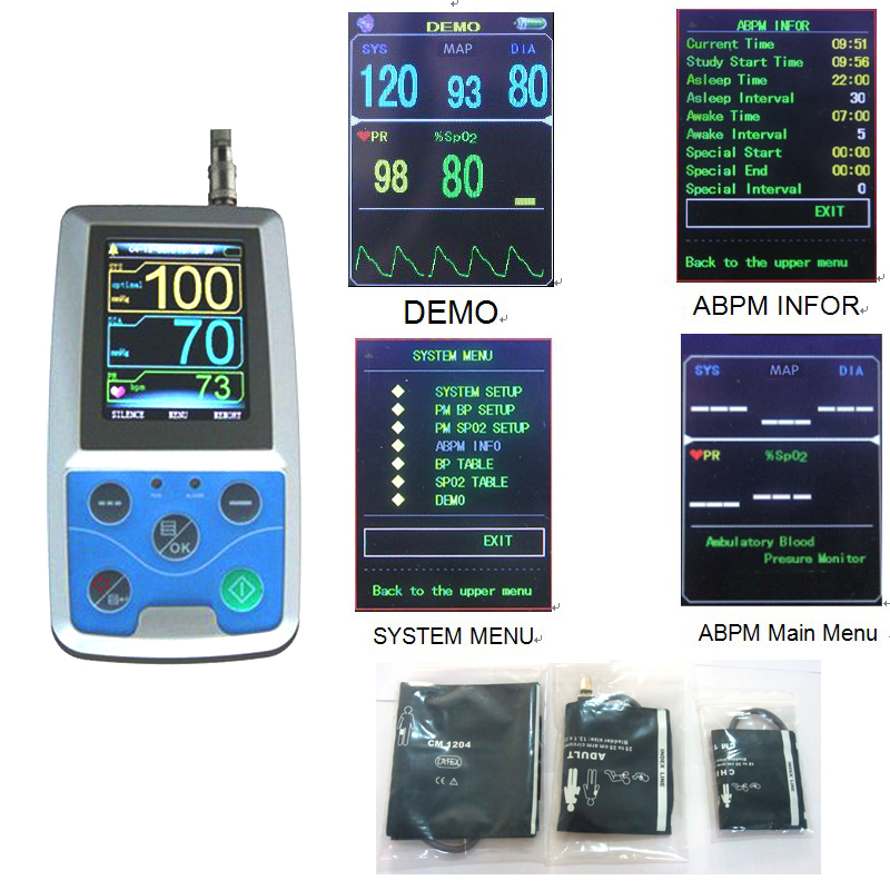 24 hours Ambulatory Blood Pressure Monitor Holter ABPM BP Monitor abpm50 24 hours ambulatory blood pressure monitor holter abpm holter bp monitor with software contec