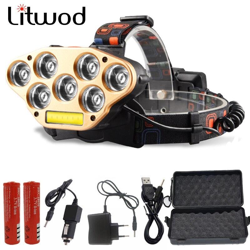 Litwod Z20 181 LED headlamp 7*XPE &1*COB glare charging headlight night fishing lights head lamp lantern flashlight head light