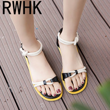 RWHK sandals female flat 2019 summer Korean version of the new hemp rope womens shoes color buckle with Roman B454