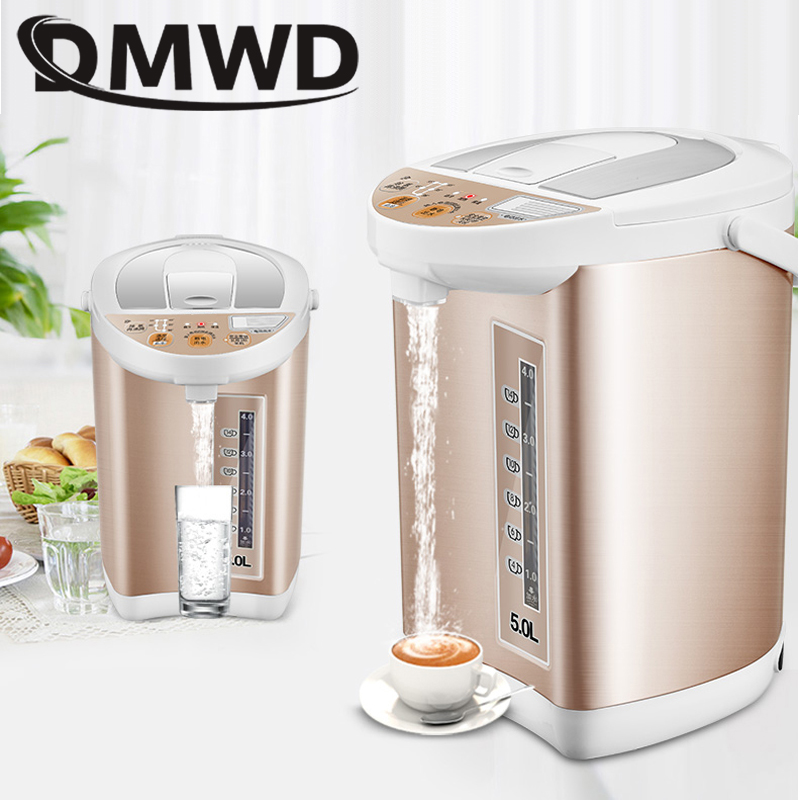 DMWD Household electrical kettle stainless steel thermal insulation teapot 5L quick heating hot water bottle boiler heater EU US household stainless steel electrical stainless steel electric water heating pot insulation electric kettle cup boiler 850w 5l eu