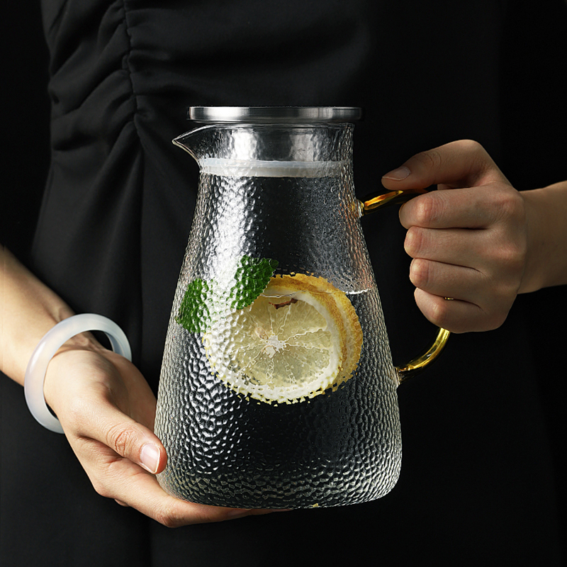Glass Tea Pot Cold Kettle Glass Pitcher Water Bottle Snow Point Hammer High Temperature Resistance Heatable 1L 1.5L 1.8L 2L 2.5L
