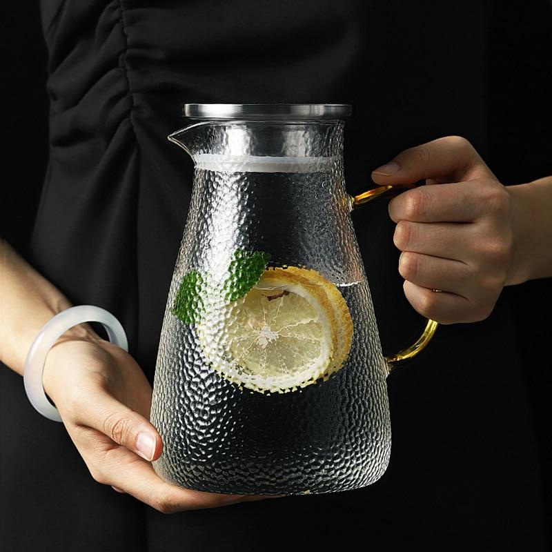 Glass Tea Pot Cold Kettle Glass Pitcher Water Bottle Snow Point Hammer High Temperature Resistance Heatable 1L 1.5L 1.8L 2L 2.5L