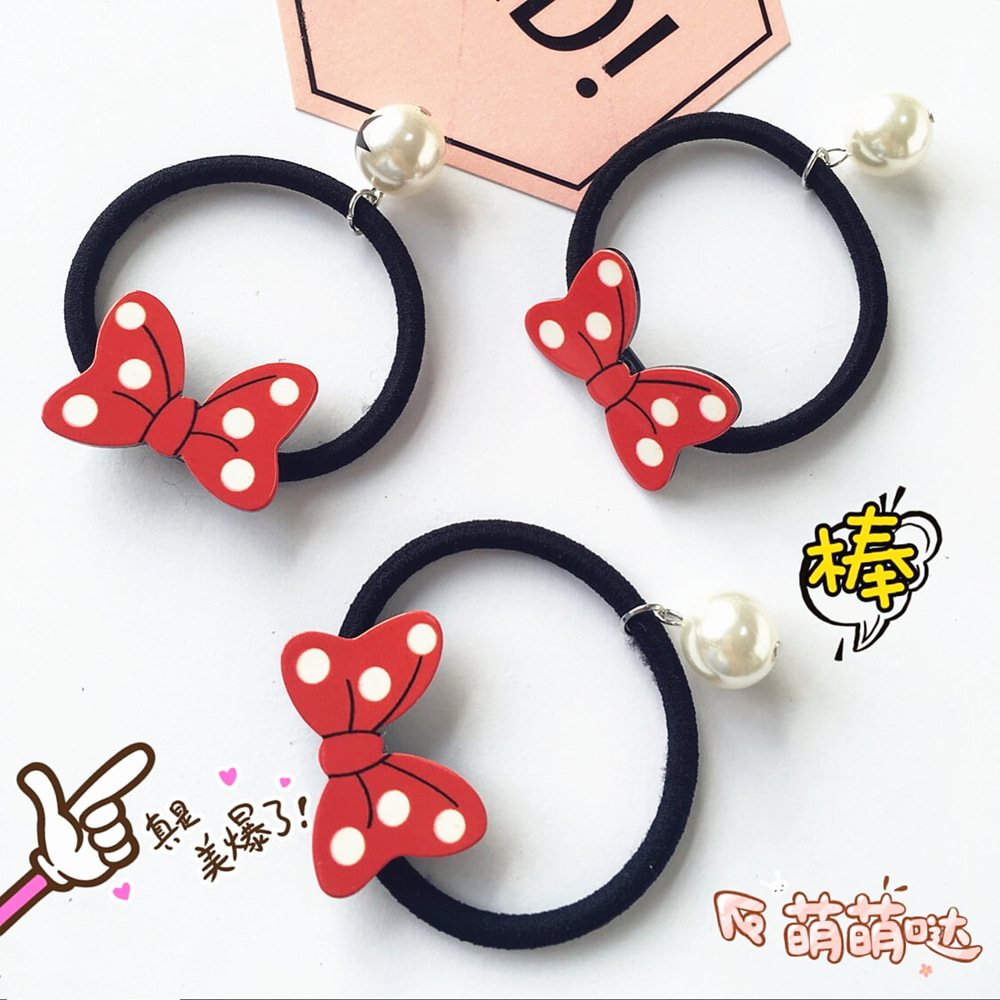 korean cartoon cute bow ring wave pearl jewelry essories
