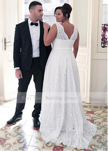 Image 3 - Fashionable V Neck Lace Plus Size Wedding Dress A Line Floor Length white ivory vestido de noiva brides dress ball gown