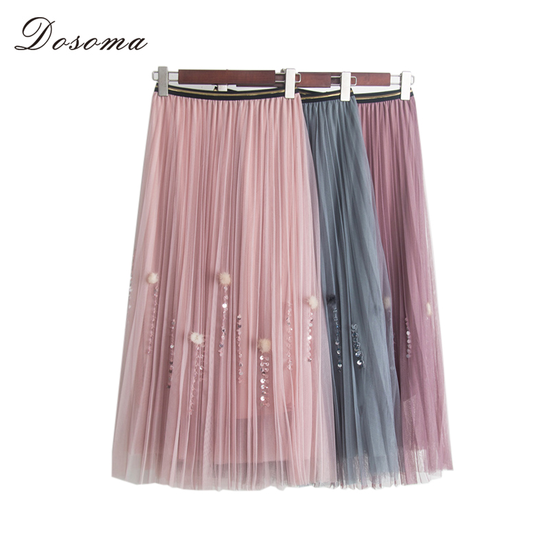 DOSOMA Women tulle skirt 2018 new Spring elastic high waist mesh midi skirts women sequins ...