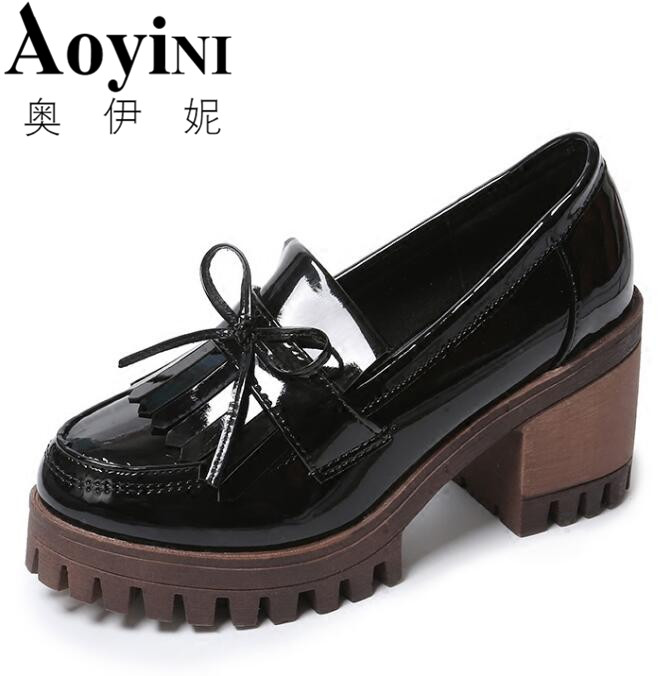 AOYINI Tassel Oxfords 2018 Bling Platform Shoes Woman Loafers Casual Creepers Slip On High Heels Black Women Shoes new arrival women s oxfords shoes round toe casual tassel leather women platform creepers shallow slip on plus size 35 42