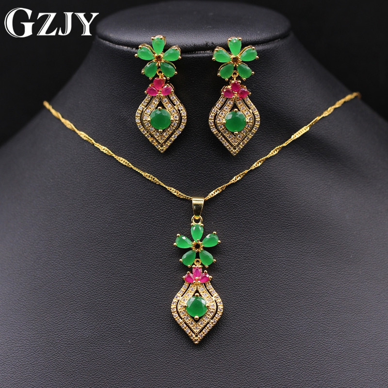 GZJY Exquisite Jewelry Set Pure Gold Color Flower Green Red Zircon Crystal Pendant Necklace Earrings Set For Women Gift women s elegant pendant necklace ring w zircon ornament set golden green