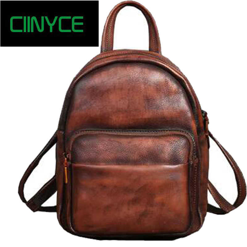 vintage crazy horse Cow leather back pack Unisex cowhide skin Laptop rucksack Women Thick real leather school Casual Backpacks