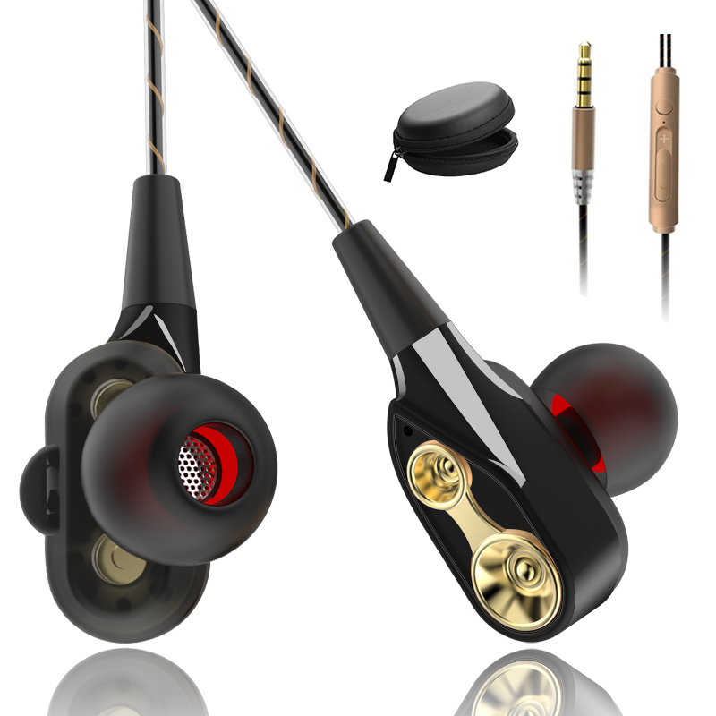 כונן כפול סטריאו Wired אוזניות בתוך אוזן אוזניות אוזניות בס אוזניות עבור IPhone סמסונג 3.5mm ספורט משחקי אוזניות עם מיקרופון
