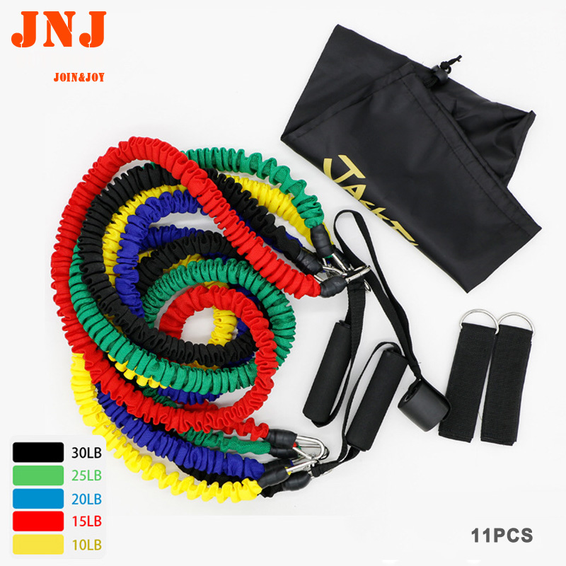 11PCS Yoga Pull Rope Elastic Rope Fitness Resistance Bands Excercise Equipment Workout Gym Practical Training Elastic Band Rope