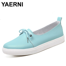 YAERNI arrival spring lovely solid women shoes genuine leather women flats shoes 4 colors single boat shoes woman causal loafers