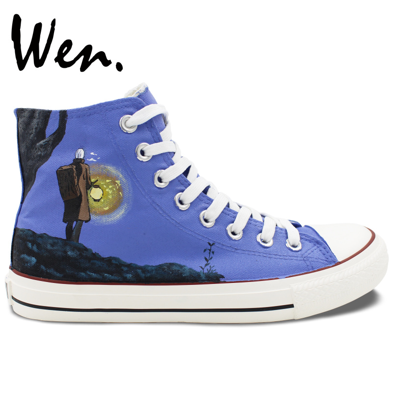 ФОТО Wen Design Anime Hand Painted Shoes Mushishi Skateboarding Shoes Mens Womens High Top Canvas Sneakers