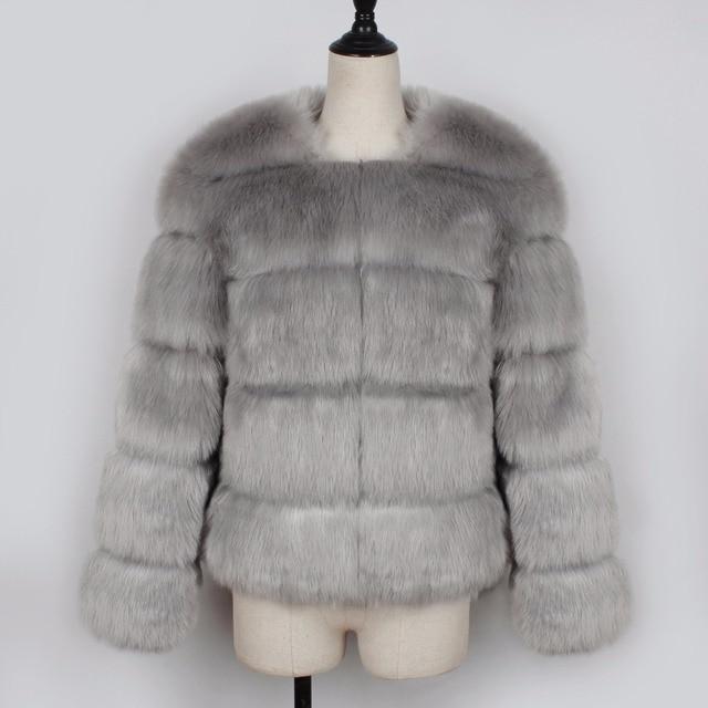 Купить новинка 2020 зимнее теплое пальто из лисьего меха женская однотонная картинки цена