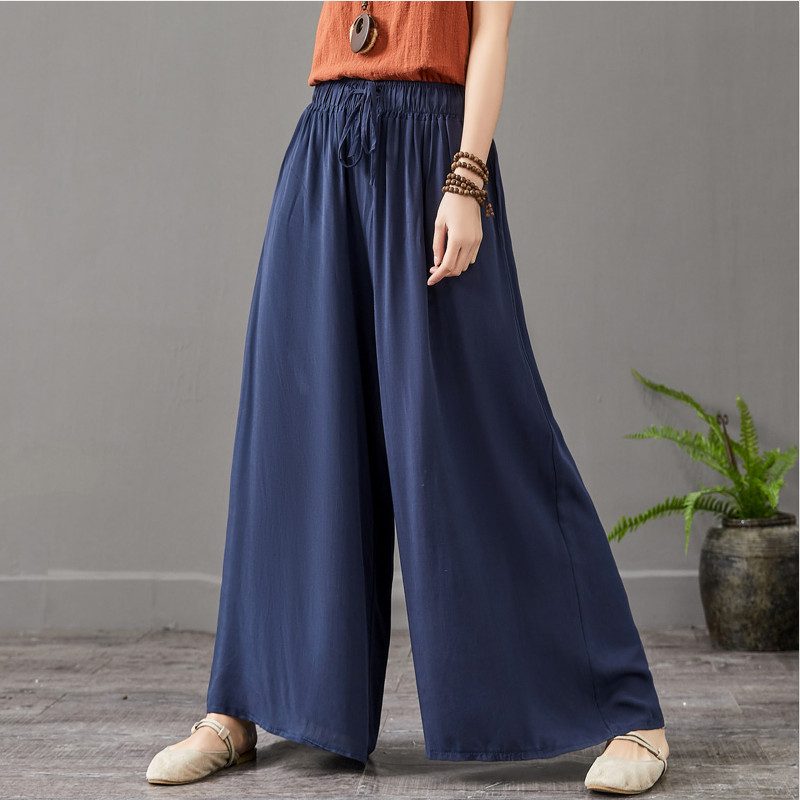 New 2020 Summer Women Comfortable Cool Thin Wide Leg Pants,Brand Plus Size Cotton Linen Pants,casual Skirt Trousers 5xl 6xl 7xl