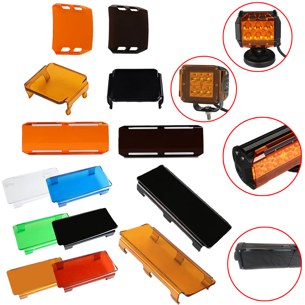 LED Work Light Bar Dust Proof Protective Covers Amber Clear Black Red White Color For 3