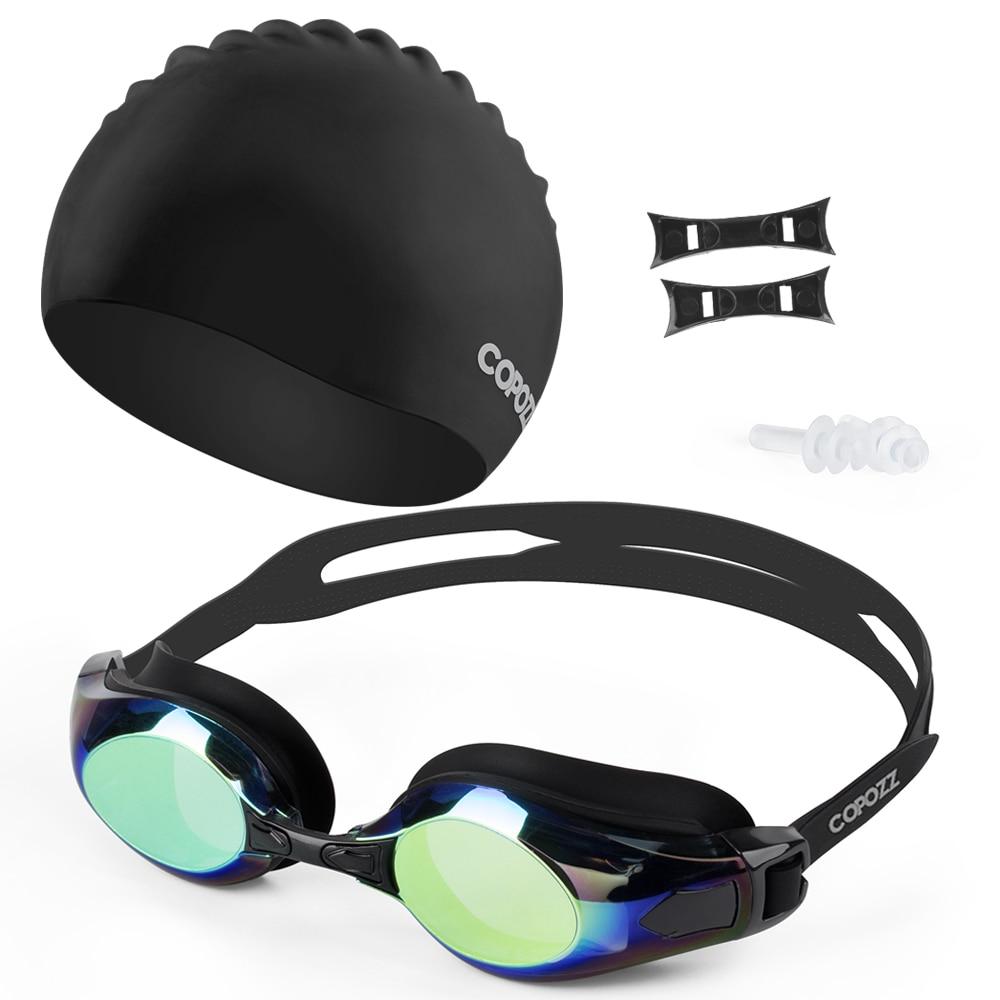 Copozz Anti-Fog Swimming Goggles 100% UV Protection Myopia Swim Glasses Caps with Free Earplug Case for Adult Men Women Children