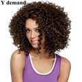 Top Quality Kinky Curly African Synthetic None Lace Wig Short Wigs for Black Women Medium Length Brown Synthetic Afro Wig