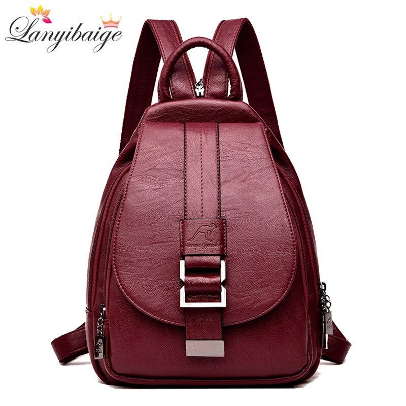 ce528016d5a2 Зима 2018 Для женщин кожаные рюкзаки моды сумка женский рюкзак дамы путешествия  рюкзак Mochilas школьные сумки