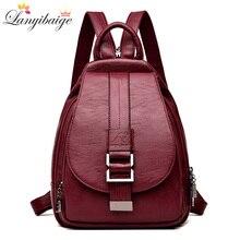 f3e72241edcd Зима 2018 Для женщин кожаные рюкзаки моды сумка женский рюкзак дамы  путешествия рюкзак Mochilas школьные сумки