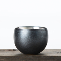 100ml Vintage Style Ceramic Pottery Teacup Pure Silver Small Tea Bowls Chinese Kung Fu Tea Set Puer Cups Drinkware Collection