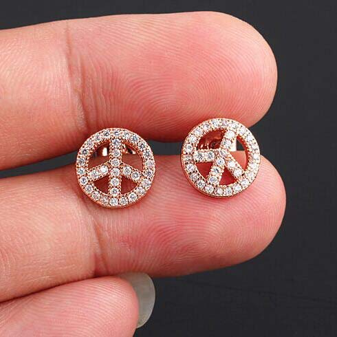 high jewelry steel gold zircon waterproof stone color women sign peace stainless plated earring fashion quality item stud vintage