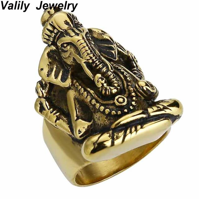 EdgLifU Men Ring Thailand Buddha elephant Thai Pikanet GANESHA GANESH Rings Stainless Steel Golden Cool Jewelry Rings Men