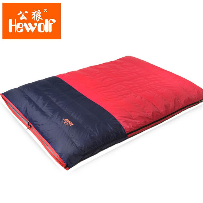 Hewolf Fill 2000g Duck Down Double Sleeping Bag Adult Winter 320T Nylon Waterproof Three Season Multimeter Envelope Sleeping Bag
